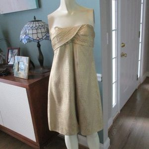 Cache Gold Metallic Strapless Dress 6